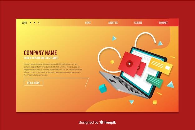 Landing page mit laptop und farbverlauf