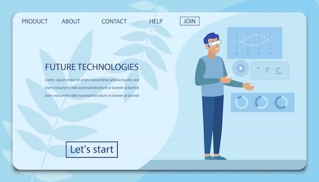 Landing page mit mann, der zukünftige technologie präsentiert