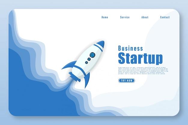 Landing page mit raketenstart im papercut-stil