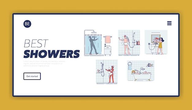 Landing page mit satz von menschen, die im badezimmer singen