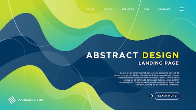 Landing page mit wellen abstrakten design