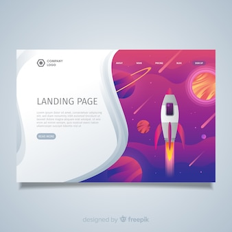 Landing page mit weltraumrakete