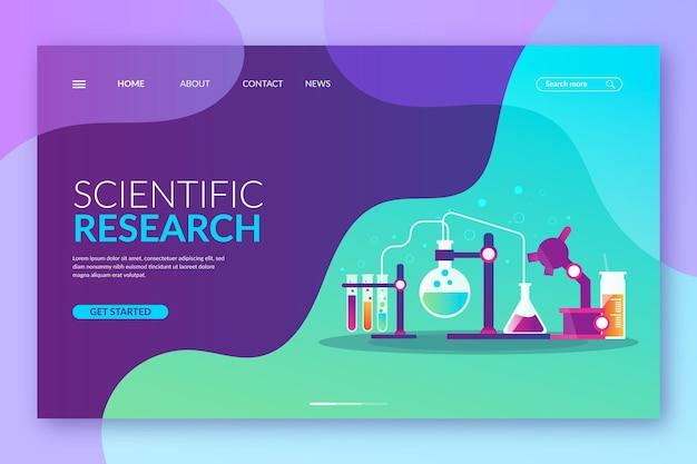 Landing page mit wissenschaftlichem forschungskonzept