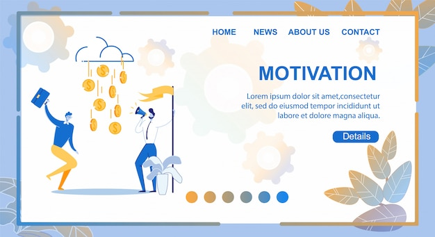 Landing page motivation, illustration beschriftet.