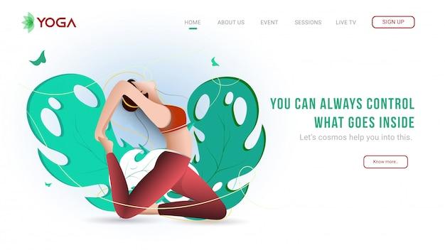 Landing page oder web-banner-design mit junge frau praxis yoga pirai asana pose auf natur-ansicht.