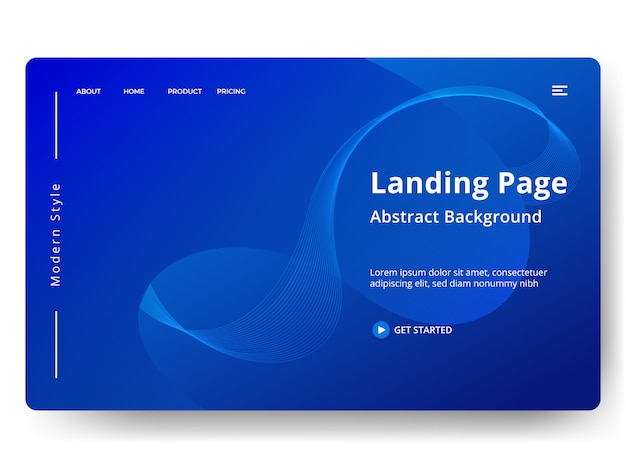 Landing page oder web template im modernen abstrakten design