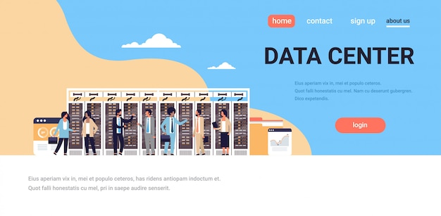 Landing page oder web template mit illustration, big data thema