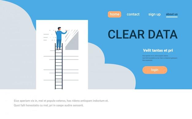 Landing page oder web template mit illustration, big data thema