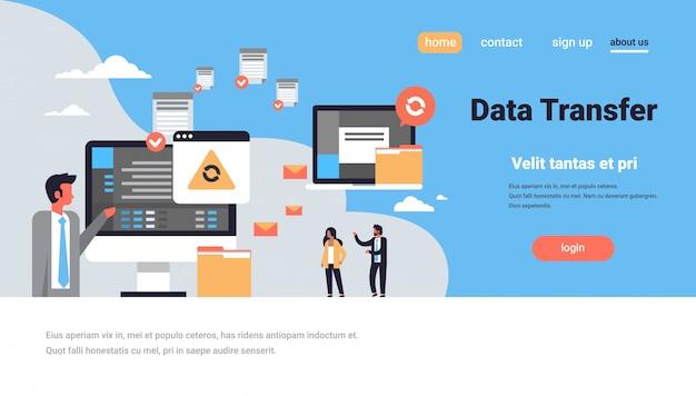 Landing page oder web template mit illustration, datenübertragungsthema