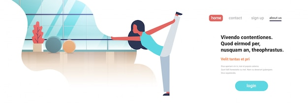 Landing page oder web template mit illustration, yoga-thema
