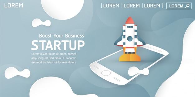Landing page oder web template mit start-up-konzept.