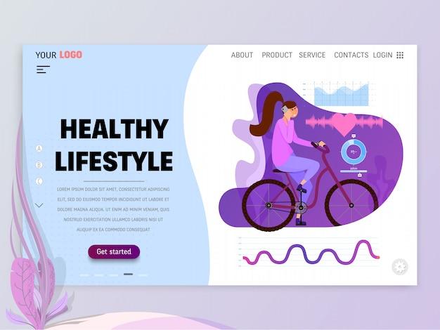 Landing-page oder website-vorlage mit szenen des aktiven lebens in einer städtischen umgebung.
