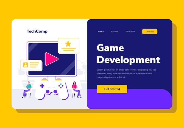 Landing page people development spiel app programmierung illustration