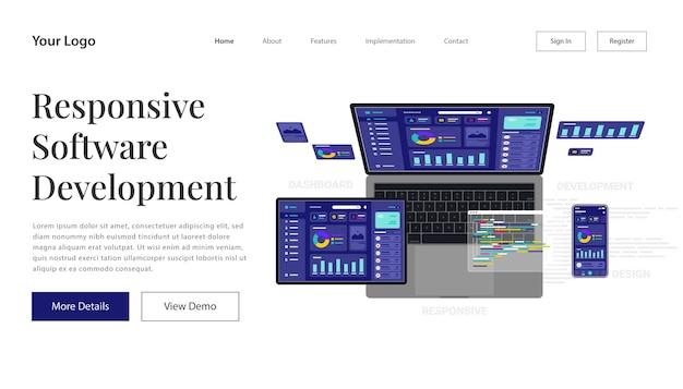 Landing page responsive internet-website für mehrere plattformen isometrische illustration. aufbau einer mobilen schnittstelle auf dem bildschirm von laptop, tablet, smartphone.