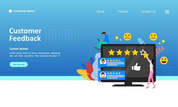 Landing page-schablone der kundenfeedback-vektorillustration