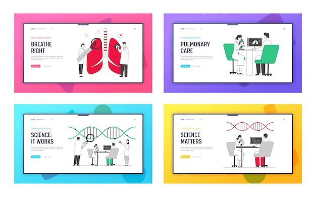 Landing page set der website für medizinische pulmonologische versorgung
