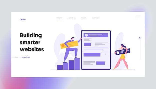 Landing page set für das web-software-entwicklungskonzept