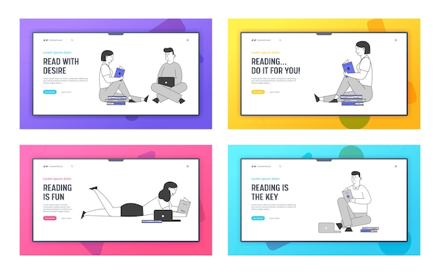 Landing page set für studienwebsites für junge menschen