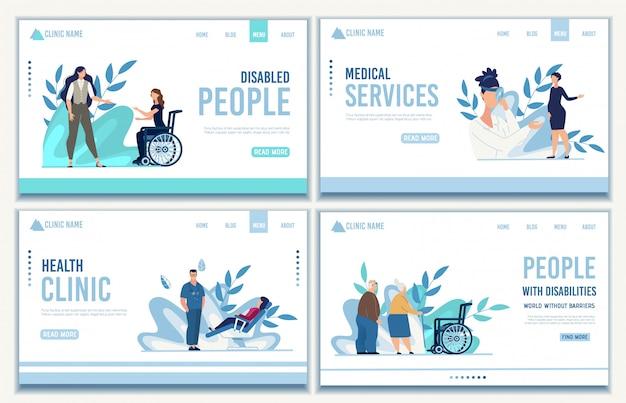 Landing page set von medizinischen dienstleistungen für menschen