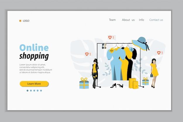 Landing page template. ausstellungsraum mit kleidung auf kleiderbügeln, designer und kunden mit einkaufstaschen. mode, stil showroom, kleidermarktkonzept. illustration.