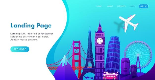 Landing page template-design mit berühmten sehenswürdigkeiten im modernen farbverlauf