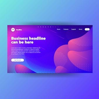 Landing page template-design mit farbverlauf