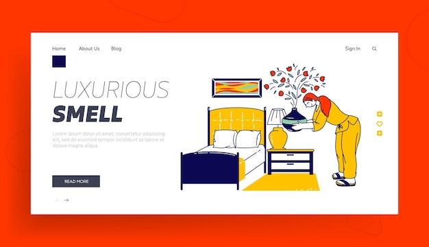 Landing page template. frau charakter setzen sie aroma oil diffusor lampe auf nachttisch im schlafzimmer für guten schlaf und entspannen sie sich zu hause oder im hotel