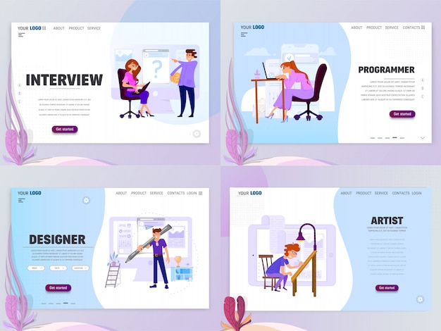 Landing page template für artist designer oder home page interview, isolierte objekte