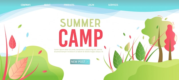 Landing page template für das organisation summer camp