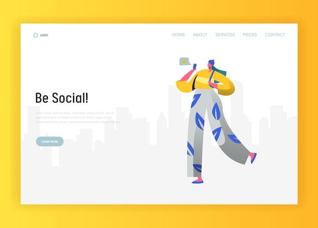 Landing page template für soziale netzwerke. frauenfigur, die mit smartphone für website oder webseite kommuniziert. virtuelles kommunikationskonzept. vektorillustration