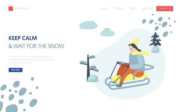 Landing page template für winterferien. frauencharakter, der auf schneebergen für website oder webseite rodelt. einfache bearbeitung. vektorillustration
