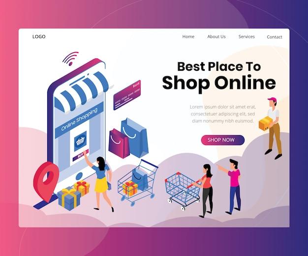 Landing page template mit artwork konzept des online-shoppings