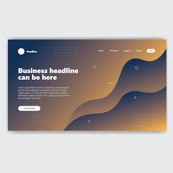 Landing page template mit blauer farbverlauf moderne webseite