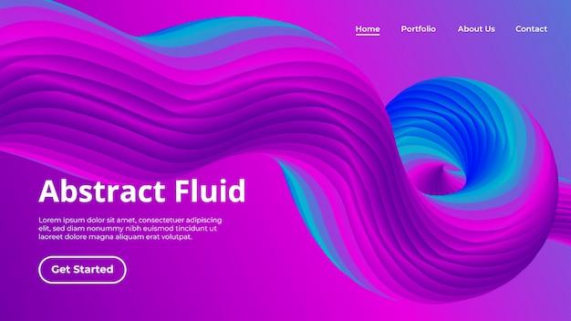 Landing page template mit flüssiger form der welle 3d in der bewegung