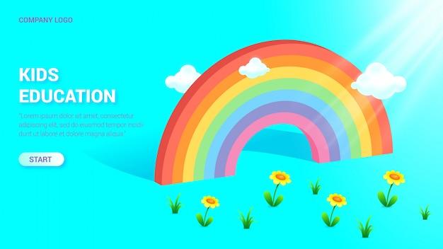 Landing page template mit schönem regenbogen