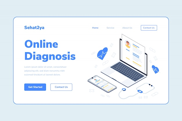 Landing page template online-diagnose gesundheit laptop smarthphone stethoskop isometrische illustration
