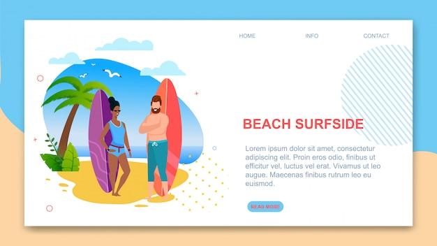 Landing page template präsentiert strand surfside.