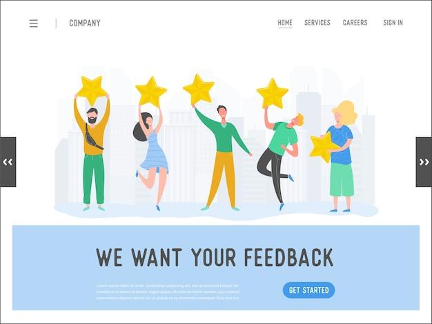 Landing page template review konzept illustration. frauen- und manncharaktere schreiben gutes feedback mit goldenen sternen. kundenpreis-services für website oder webseite. fünf sterne positive meinung.