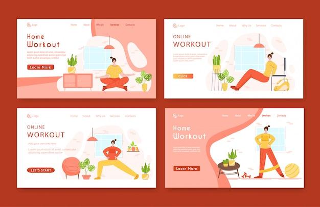 Landing page template set frau macht sportübungen und yoga zu hause.