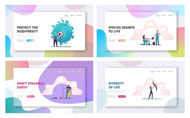 Landing page template set für biodiversität.