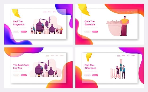Landing page template set für die kosmetische parfümerieproduktion.