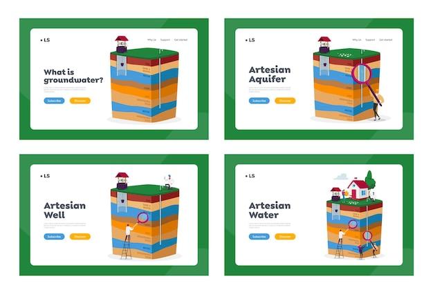 Landing page template set für grundwasser- oder artesische wassergewinnung