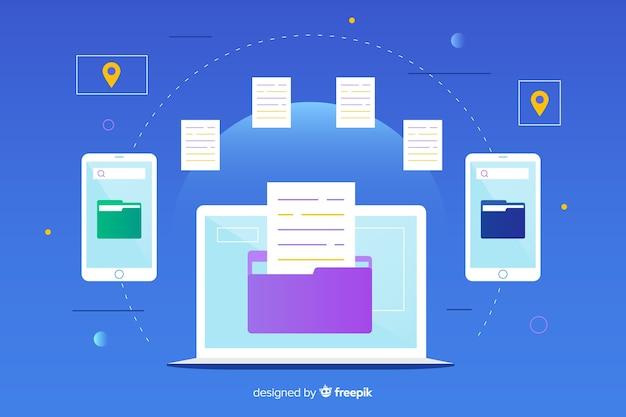 Landing page transfer files-konzept