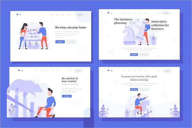 Landing page vector illustration flacher designstil, mann und frau, die berechnung mit abakus, schachstrategie, bärenmarkt, stiertrend, zunahme, abnahme tun