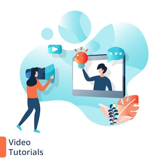 Landing page video tutorials illustration, online-bildung,