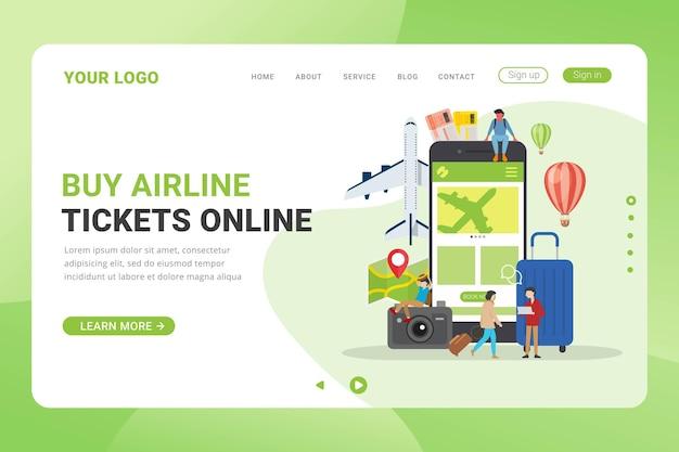 Landing page vorlage flugtickets online-design-konzept-vektor-illustration