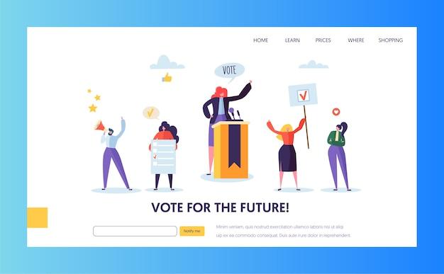 Landing page-vorlage für abstimmungen. business people characters politisches meeting-konzept für website oder webseite.