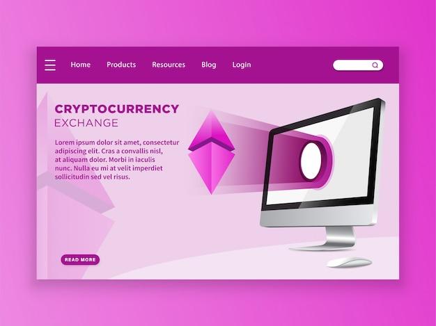 Landing page-vorlage für cryptocurrency exchange