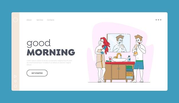 Landing page-vorlage für das morgenhygieneverfahren.