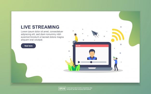 Landing-page-vorlage für das streaming des lebens. modernes flaches konzept des entwurfes des webseitenentwurfs für website und bewegliche website